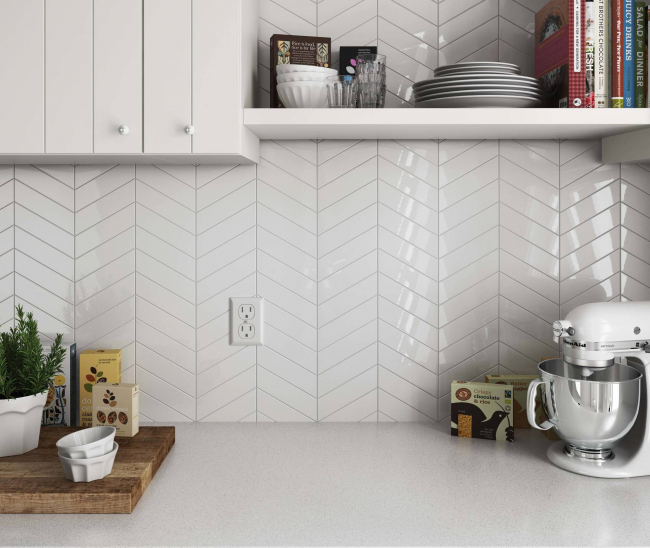 Chevron Wall White Right 5.2x18.6